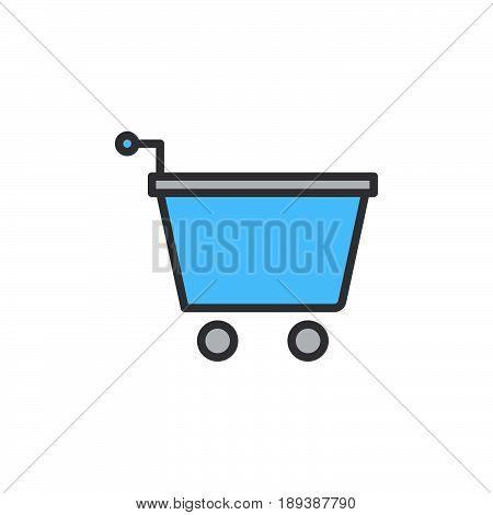 Shopping cart with arrow checkout filled outline icon vector sign colorful illustration