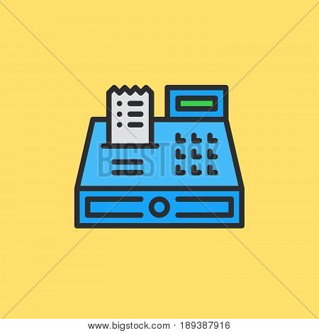Cash register filled outline icon vector sign colorful illustration