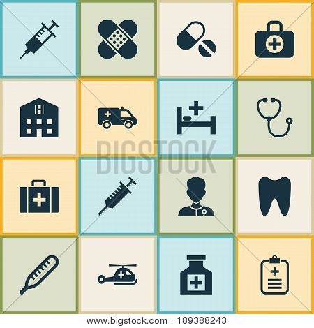 Antibiotic Icons Set. Collection Of Claw, Device, Painkiller And Other Elements. Also Includes Symbols Such As Stethoscope, Help, Data.