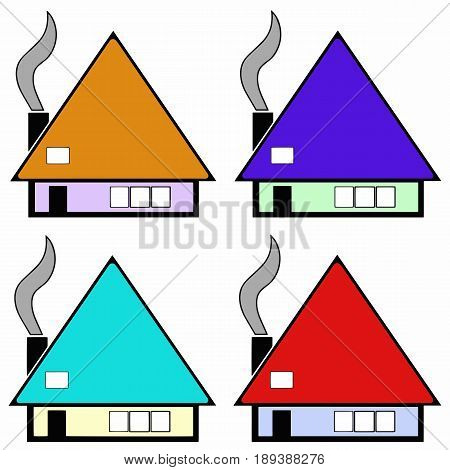 multicolored houses vector set with smoke from chimney