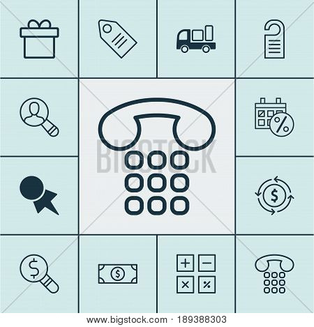 E-Commerce Icons Set. Collection Of Ticket, Finance, Callcentre And Other Elements. Also Includes Symbols Such As Present, Finance, Discount.