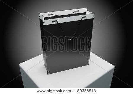 Close up of empty black shopping bag placed on pedestal. Commerce concept. Mock up 3D Rendering