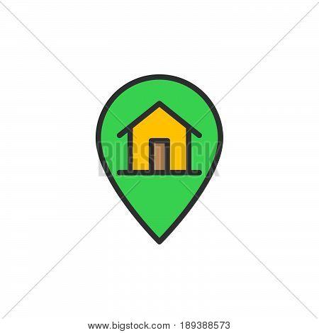 House on map pointer filled outline icon vector sign Order delivered colorful illustration