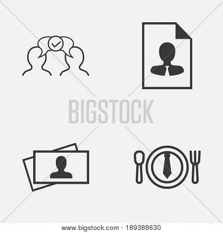 Management Icons Set. Collection Of Calling Card, Cv, Dinner And Other Elements. Also Includes Symbols Such As Card, Cv, Dinner.