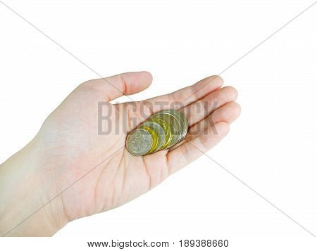 Woman's hand holding Australian coins (with clipping path)