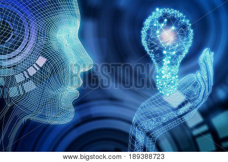 Side view of digital blue person hoding lamp. Abstract background. Idea concept. 3D Rendering