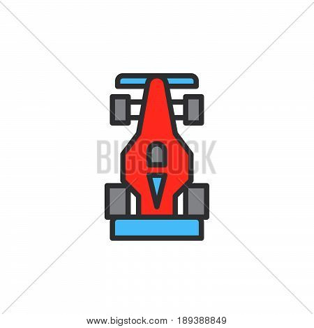 Open wheel racing car filled outline icon vector sign Motorsport colorful illustration