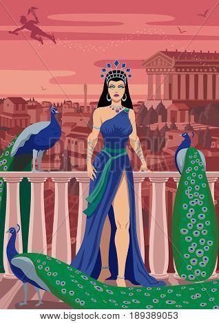 Hera Queen of the Greek gods among her favorite birds.