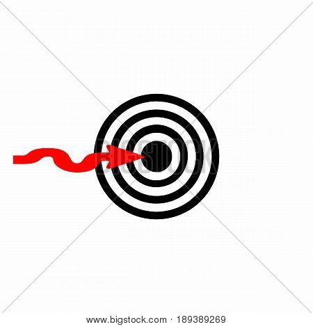 target - dartboard vector with arrow - white background