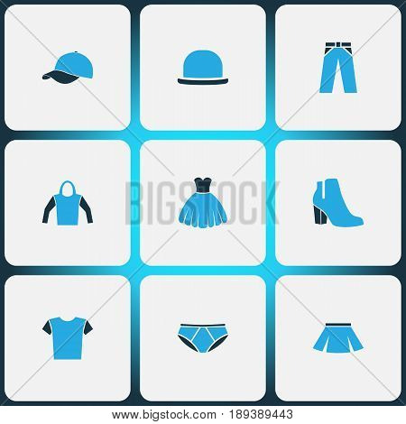 Garment Colorful Icons Set. Collection Of Sweatshirt, Female Boots, Evening Gown And Other Elements. Also Includes Symbols Such As Heels, Underpants, Woman.