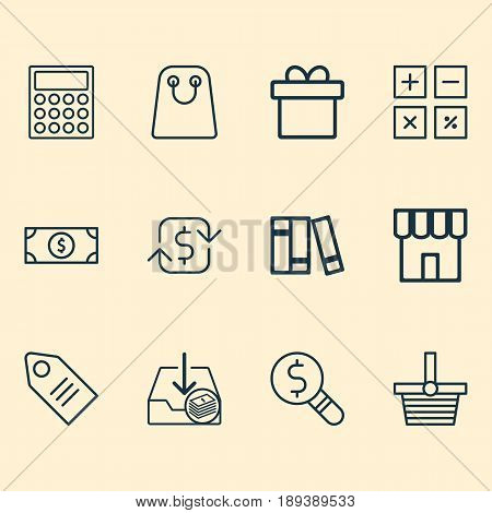 Commerce Icons Set. Collection Of Calculation Tool, Business Inspection, Buck And Other Elements. Also Includes Symbols Such As Present, Label, Box.