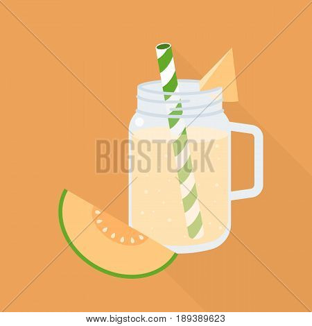 melon smoothie in mason jar with ripe of melon, flat design