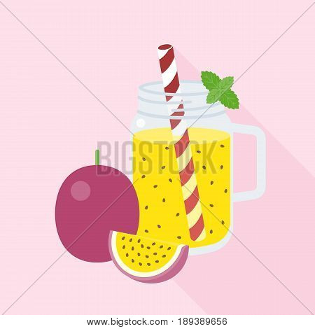 Passion fruit in mason jar with ripe of passion, flat design