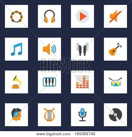 Audio Flat Icons Set. Collection Of Controlling, Dj, Ear Muffs And Other Elements. Also Includes Symbols Such As Mute, Earmuff, Play.
