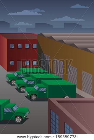 Parking lot of shipping company with delivery trucks in art deco style.