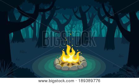 Cartoon illustration of forest campfire at night.