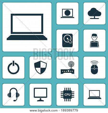 Computer Icons Set. Collection Of Web, Router, Earphone And Other Elements. Also Includes Symbols Such As Screen, Cloud, Button.