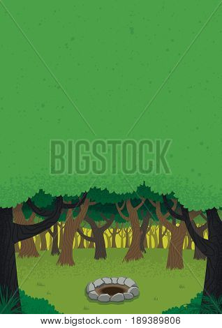 Vertical cartoon illustration of forest with copy space.