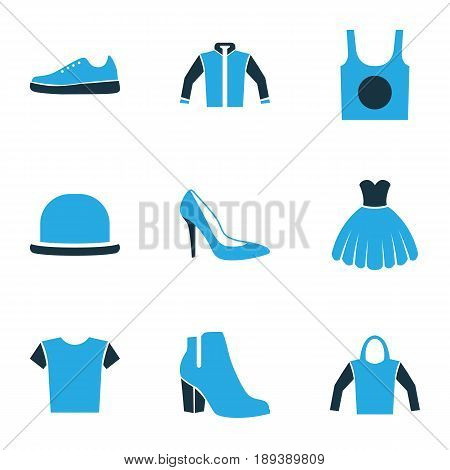 Garment Colorful Icons Set. Collection Of Sweatshirt, Sneakers, Female Boots And Other Elements. Also Includes Symbols Such As Shoe, Hoodie, Tunic.