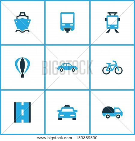 Shipment Colorful Icons Set. Collection Of Way, Caravan, Aerostat And Other Elements. Also Includes Symbols Such As Vehicle, Driveway, Tram.