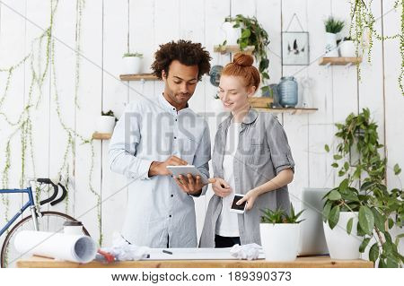 Young Family Couple Of Mixed Race Making Blueprints Of Their Future House. Handsome Afro American Da