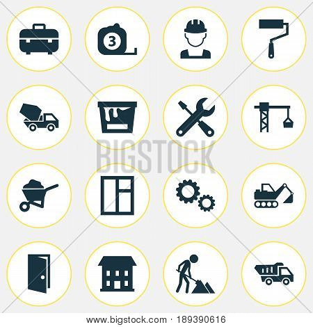 Industry Icons Set. Collection Of Carry Cart, Digger, Equipment And Other Elements. Also Includes Symbols Such As Door, Mixer, Tape.