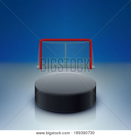 illustration of black hockey puck lying in front of gates on rink