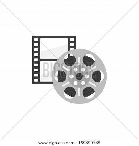Icon of film strip and reel in flat style. Cinema icon set. Vector illustration.