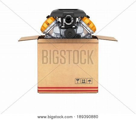 Engine In A Cardboard Box Concept Of Sale And Delivery Of Auto Parts Without Shadow On White Backgro