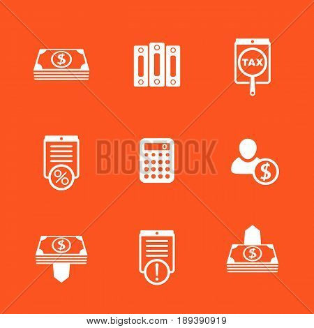 Bookkeeping, finance icons set, banking, payments, accounting, documents