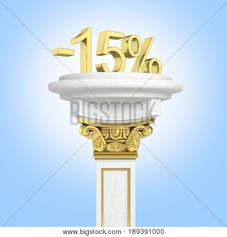 Gold Text 15 Percent Off Standing On The Pedestal On Blue Gradient Background 3D Render