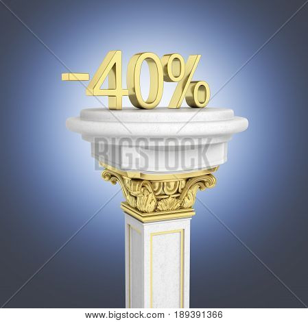 Gold Text 40 Percent Off Standing On The Pedestal Isolated On Dark Blue Gradient Background 3D Rende
