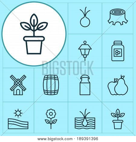 Garden Icons Set. Collection Of Flowerpot, Meadow, Jar And Other Elements. Also Includes Symbols Such As Stump, Pot, Garlic.