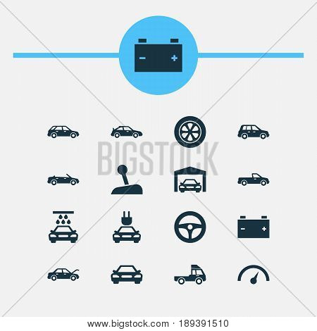 Car Icons Set. Collection Of Hatchback, Auto, Crossover And Other Elements. Also Includes Symbols Such As Station, Accumulator, Gear.
