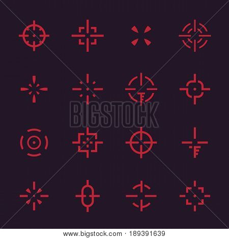 crosshairs set, vector elements for interfaces on dark, eps 10 file, easy to edit