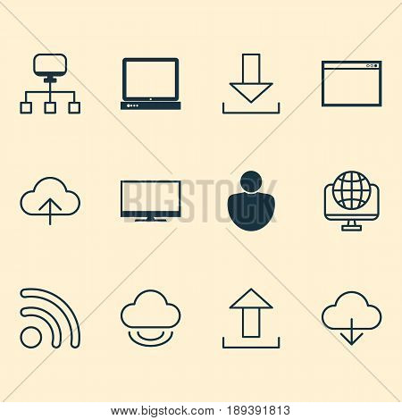 Internet Icons Set. Collection Of Save Data, Send Data, Local Connection And Other Elements. Also Includes Symbols Such As Upload, Www, Login.