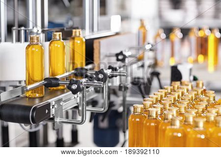Production Line Of Beauty And Healthcare Products At Plant Or Factory. Process Of Manufacturing And