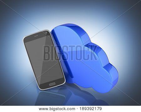 Concept Of Cloud Storage Smartphone With Cloud Storage App On Dark Blue Gradient Background 3D