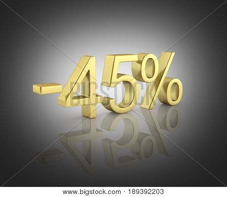 Gold Text 45 Percent Off On Black Gradient Background With Reflection 3D Render