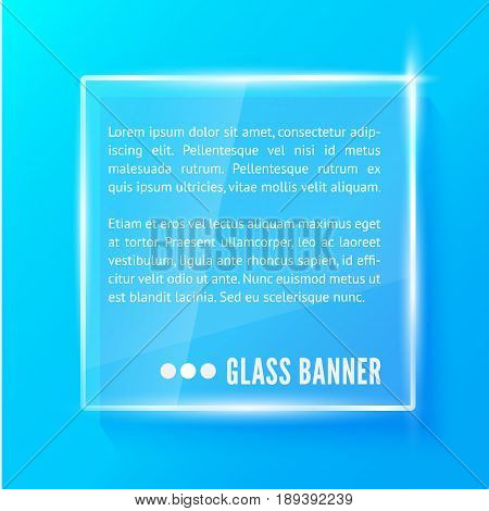 Glass plate with reflaction and shadow isolated on blue background. Realistic vector illustration.