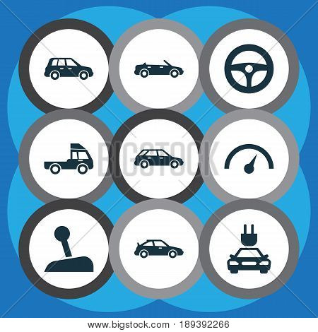 Car Icons Set. Collection Of Convertible Model, Plug, Chronometer And Other Elements. Also Includes Symbols Such As Hatchback, Crossover, Lorry.