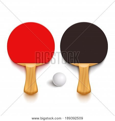 illustration of couple wooden ping pong rackets and ball with soft shadows on white background