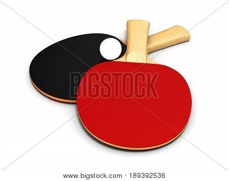 Ping-pong Rackets And Ball On White Background 3D