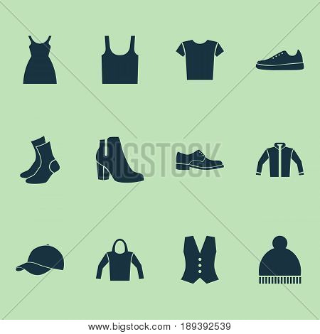 Dress Icons Set. Collection Of Singlet, Beanie, Cardigan And Other Elements. Also Includes Symbols Such As Visor, Shirt, Jacket.