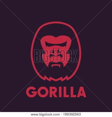 gorilla head vector logo element, eps 10 file, easy to edit