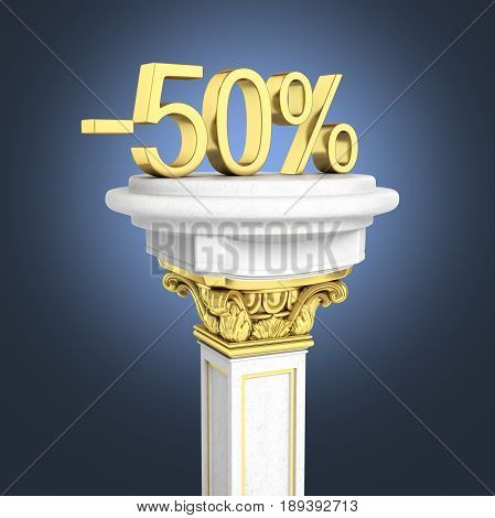 Gold Text 50 Percent Off Standing On The Pedestal Isolated On Dark Blue Background 3D Render