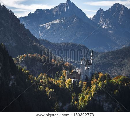View on Neuschwanstein castle. Light and shadow. Bavaria, Germany