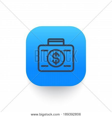 investing icon, banking, loan, investor, suitcase with money linear pictogram