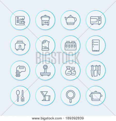 kitchen icons set in line style, eps 10 file, easy to edit