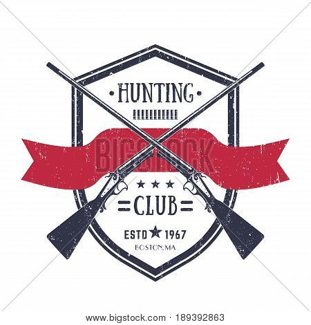 Hunting club vintage logo with two crossed old rifles, vector retro emblem on white